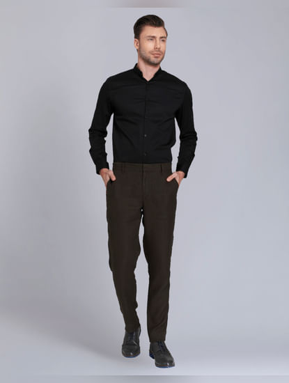 Olive Green Regular Fit Linen Trousers