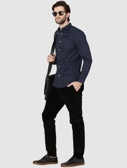 Dark Blue All Over Print Full Sleeves Slim Fit Shirt