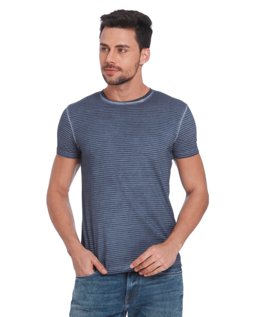 Blue Striped Crew Neck T-Shirt