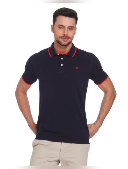 Dark Blue & Orange Polo T-Shirt