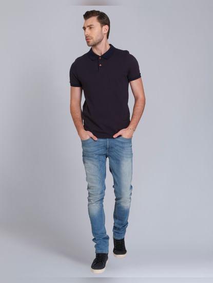 Dark Blue Polo Neck T-Shirt