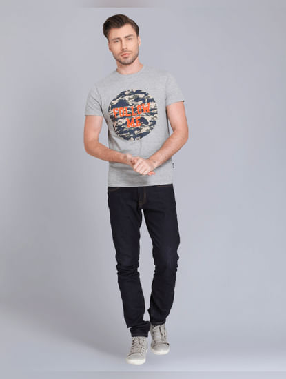 Light Grey And Camo Print Crew Neck T-Shirt