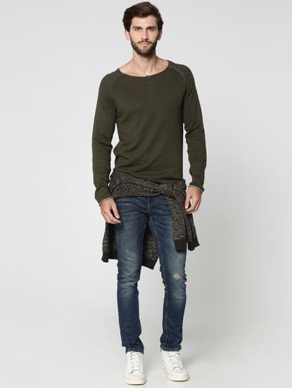 Olive Green Henley Sweatshirt