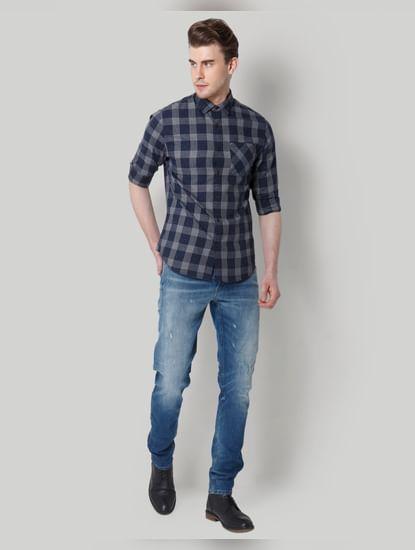 Blue Check Slim Fit Shirt