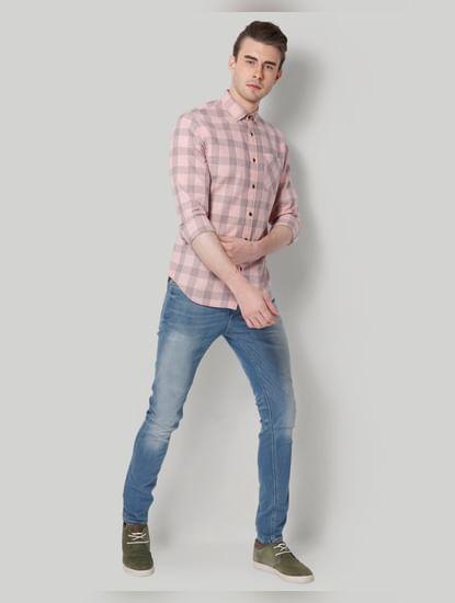 Pink Check Slim Fit Shirt