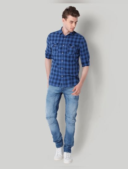 Blue Check Slim Fit Shirt