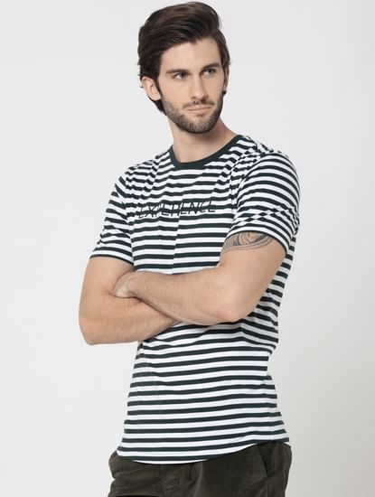 Green Pin Striped Embroidered Crew Neck T-Shirt