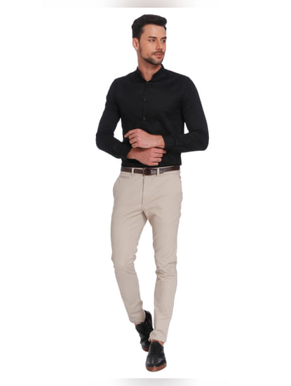 Cream Slim Fit Trousers