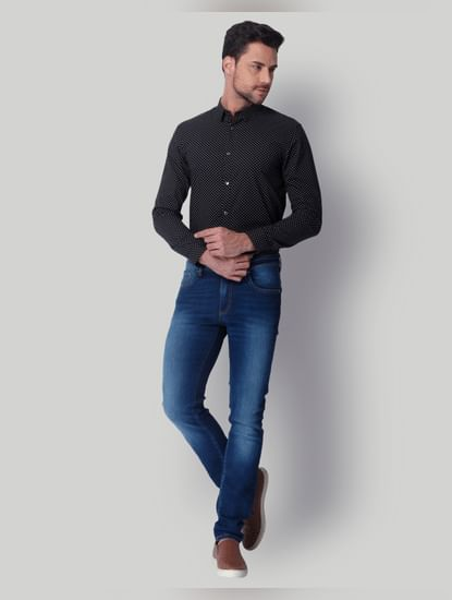 Black Dotted Slim Fit Shirt