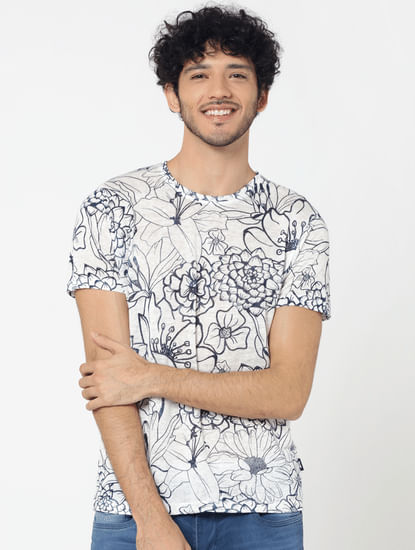 White All Over Floral Print Crew Neck T-Shirt