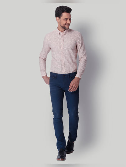 Pink All Over Print Slim Fit Shirt