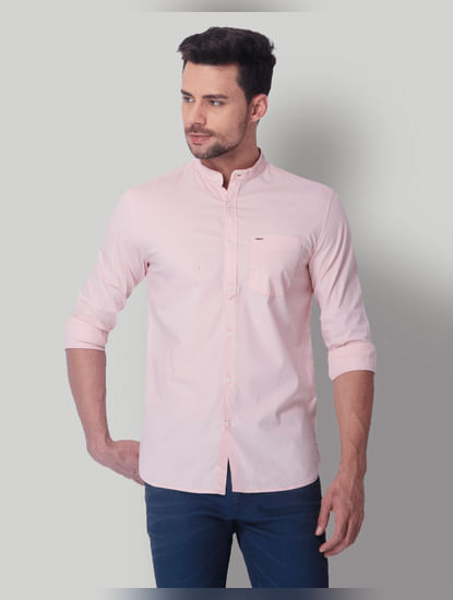 Pink Mandarin Collar Slim Fit Shirt
