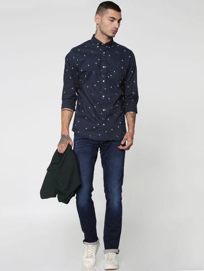 Blue All Over Print Full Sleeves Slim Fit Shirt