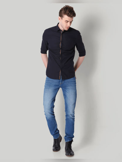Black Contrast Piping Detail Shirt