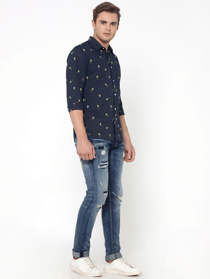 Blue Check Palm Tree Print Slim Fit Shirt