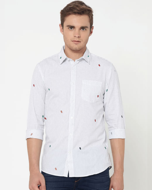 White Striped Embroidered Full Sleeves Shirt