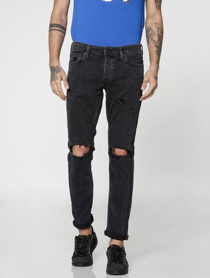 Black Glenn Knee Ripped Skinny Fit Jeans