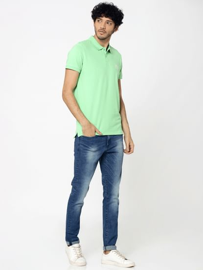Light Green Embroidered Logo Polo T-Shirt