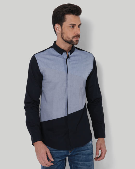 Black Colour Blocked Slim Fit Shirt