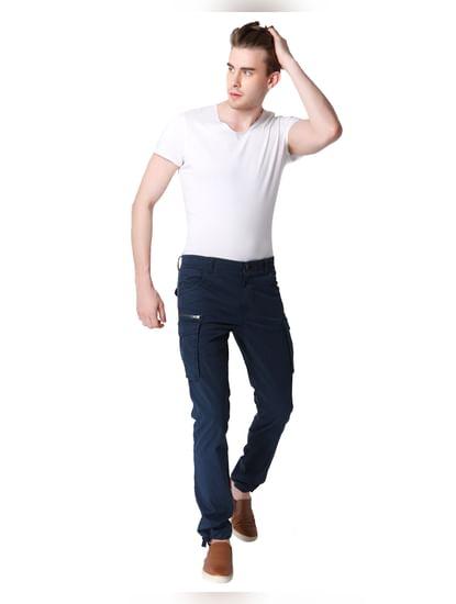 Blue Mid Rise Trouser