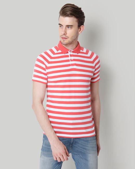 Rose Striped Polo T-Shirt