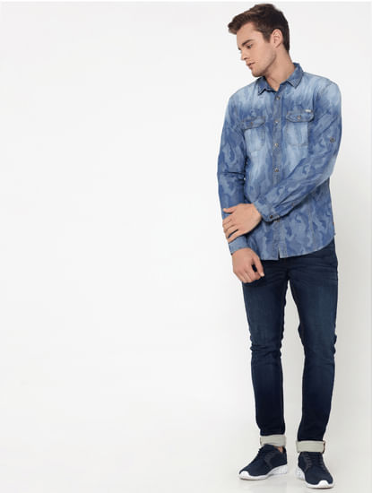 Light Blue Jacquard Slim Fit Shirt