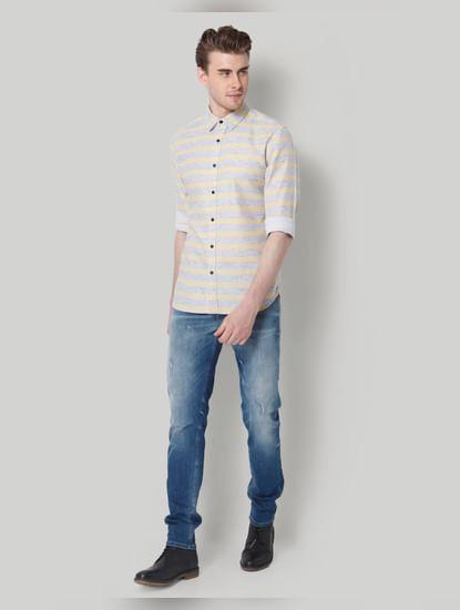 Yellow & Grey Striped Shirt