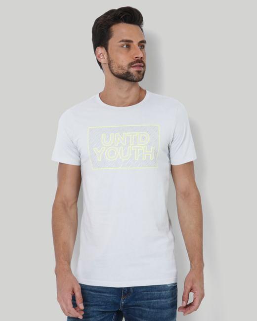 Light Grey Text Print Crew Neck T-Shirt