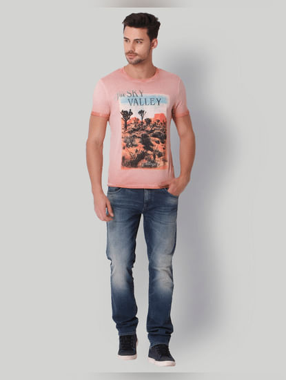 Peach Graphic Print Crew Neck T-Shirt
