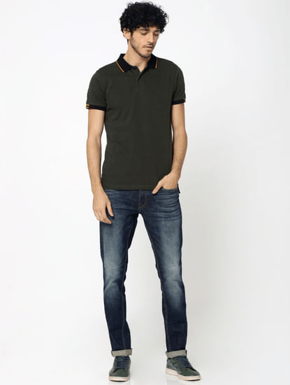 Olive Green Contrast Collar Jacquard Polo T-Shirt