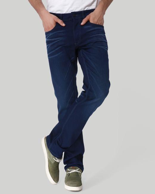 Dark Blue Mid Rise Regular Fit Jeans