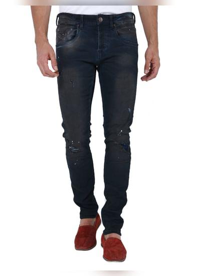 Dark Blue Distressed Slim Fit Jeans
