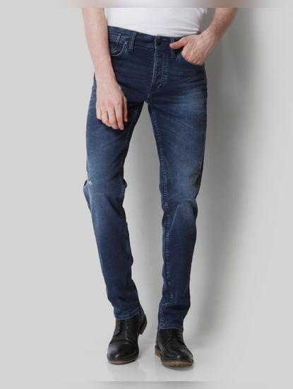 Dark Blue Mid Rise Comfort Fit Jeans
