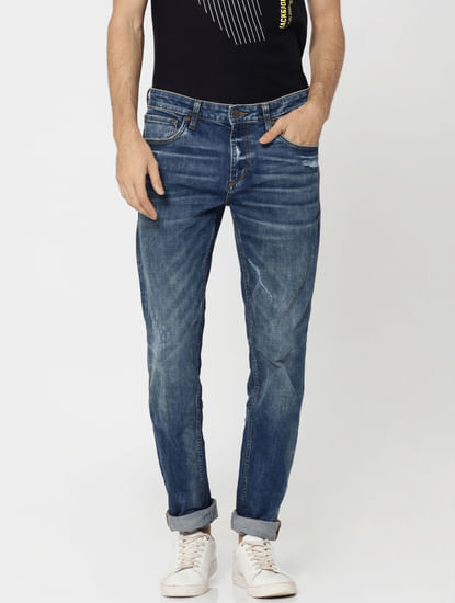 Dark Blue Mildly Distressed Tim Slim Fit Jeans