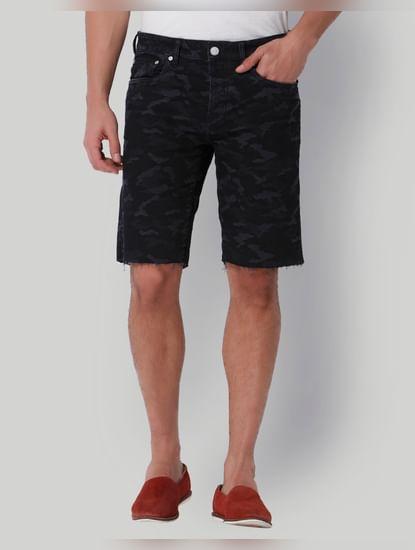 Dark Blue Camo Print Mid Rise Shorts