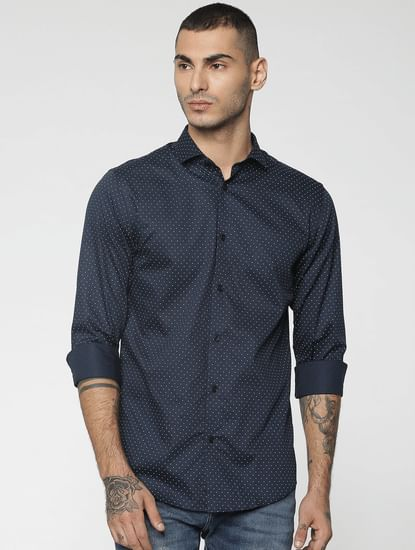 Blue All Over Dotted Print Slim Fit Full Sleeves Shirt