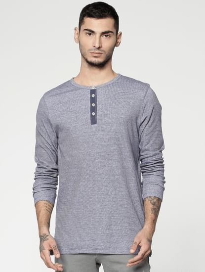 Blue Slim Fit Henley T-Shirt