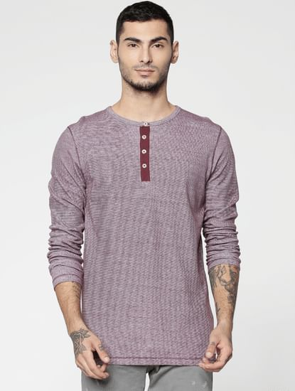Red Slim Fit Henley T-Shirt