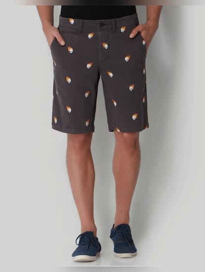 Grey Skull Print Regular Fit Shorts