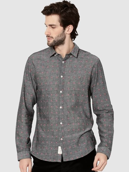 Grey All Over Printed Dobby Full Sleeves Shirt