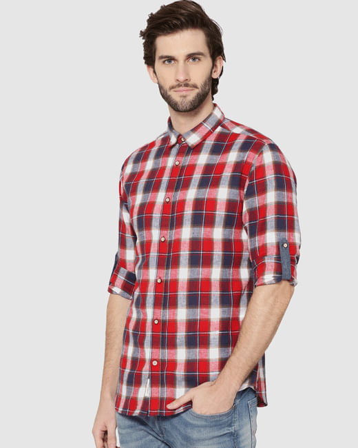 Red Check Full Sleeves Slim Fit Shirt