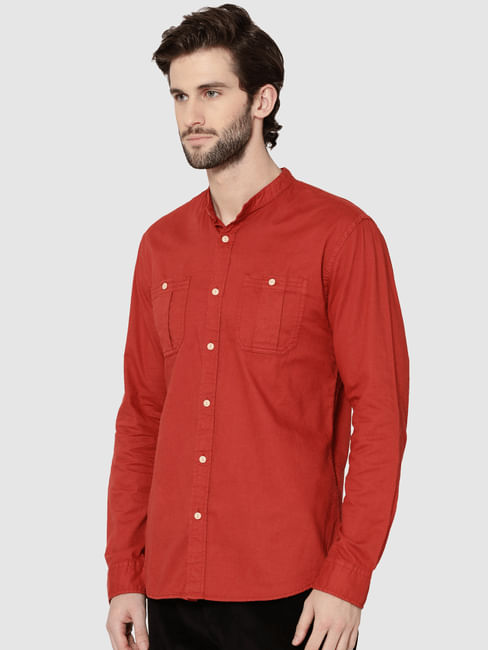 Red Mandarin Collar Full Sleeves Slim Fit Shirt