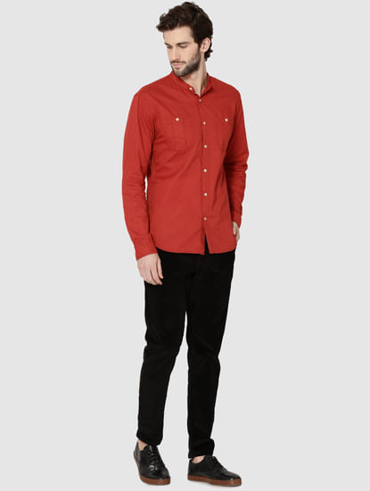 Red Mandarin Collar Full Sleeves Slim Fit Shirt