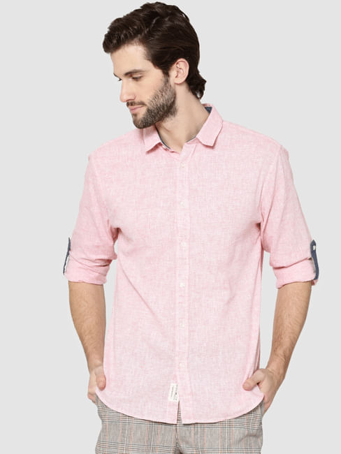 Red Dobby Full Sleeves Slim Fit Shirt
