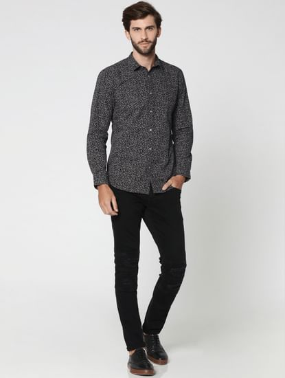 Dark Grey All Over Print Full Sleeves Shirt