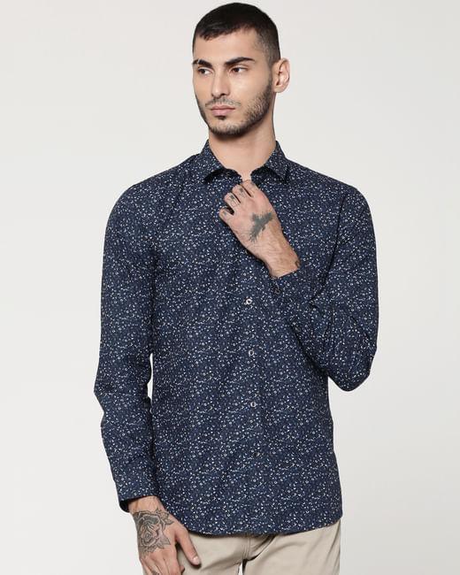 Dark Blue Printed Full Sleeves Slim Fit Shirt