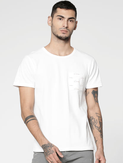 White Printed Patch Pocket Slim Fit Crew Neck T-Shirt