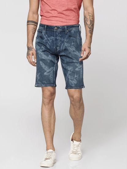 Dark Blue Palm Print Mid Rise Regular Fit Shorts