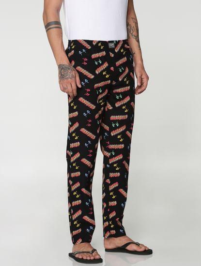 Black All Over Whatever Text Print Pyjama