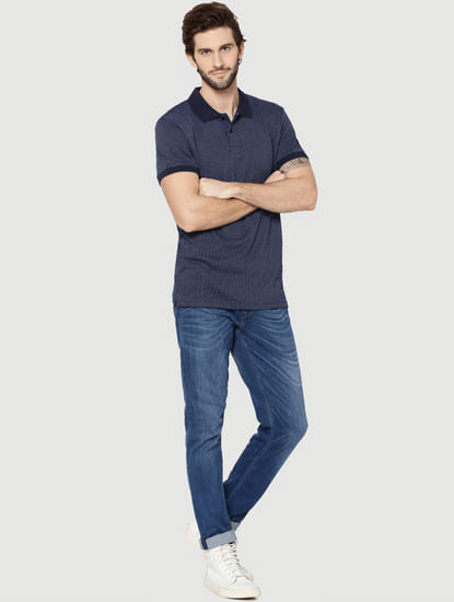 Dark Blue Jacquard Polo T-Shirt